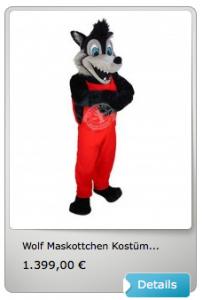 Wolf-Maskottchen-Lauffigur