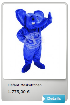 blaues elefanten kost m vom deutschen kinderschutzbund ist maskottchen des tages herstellung. Black Bedroom Furniture Sets. Home Design Ideas