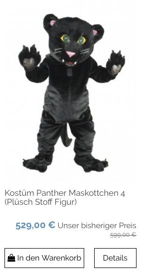 Kostüm Panther Maskottchen (Plüsch Stoff Figur) 137a