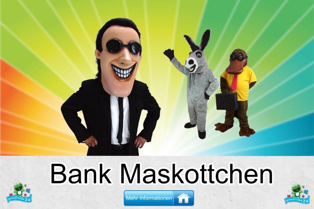 Bank Maskottchen Kostüme Lauffiguren kaufen günstig Firma